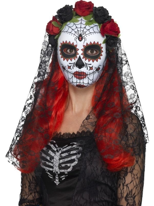 Day of the Dead Senorita Mask White Full Faced