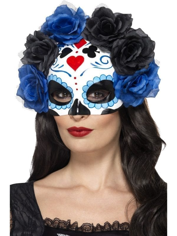 Day of the Dead Eyemask Blue/Black Roses