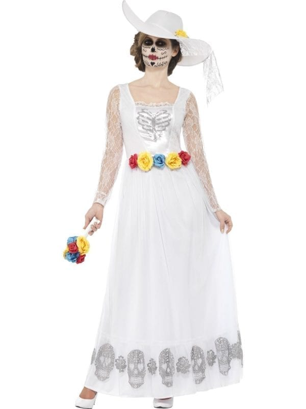 Day of the Dead Skeleton Bride White Ladies Halloween Fancy Dress Costume