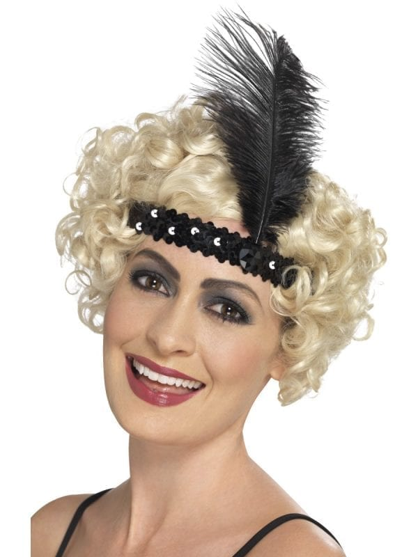Sequinned Flapper Headband Black with Feather
