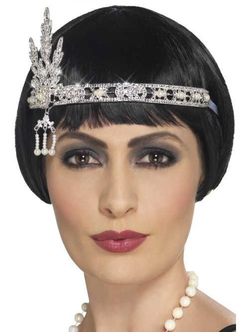 Flapper Silver Jewelled Headband
