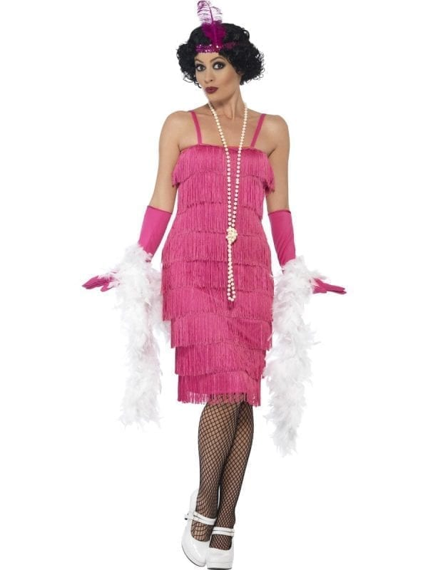 1920's Flapper Pink Long Ladies Fancy Dress Costume