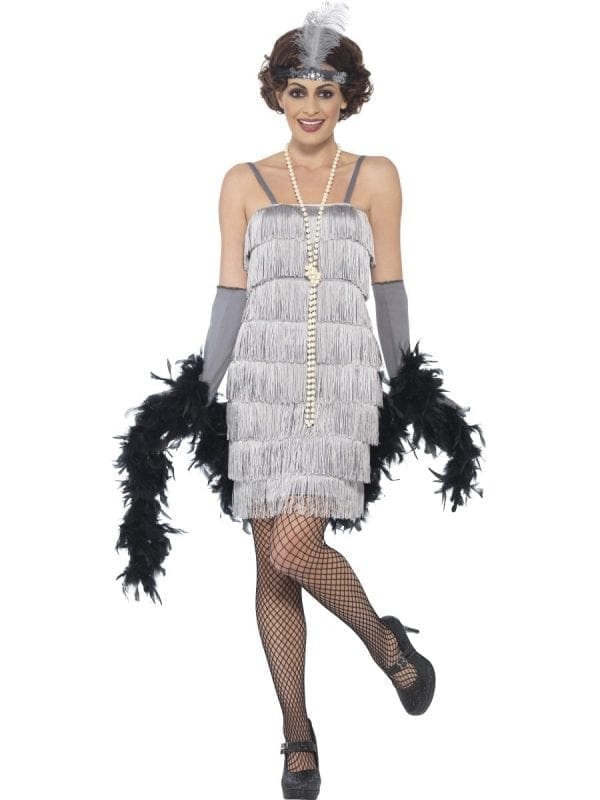 Silver Fringed Flapper Ladies Fancy Dress Costume