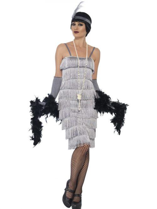 Silver Fringed Flapper Long Ladies Fancy Dress Costume