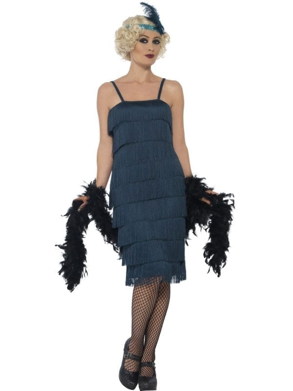 Teal Green Fringed Flapper Long Ladies Fancy Dress Costume