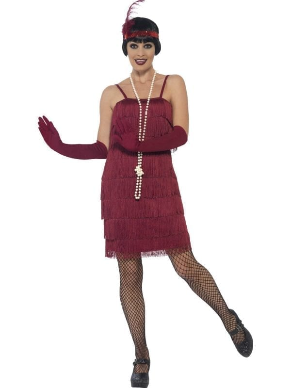 Burgundy Red Fringed Flapper Short Ladies Fancy Dress Costume