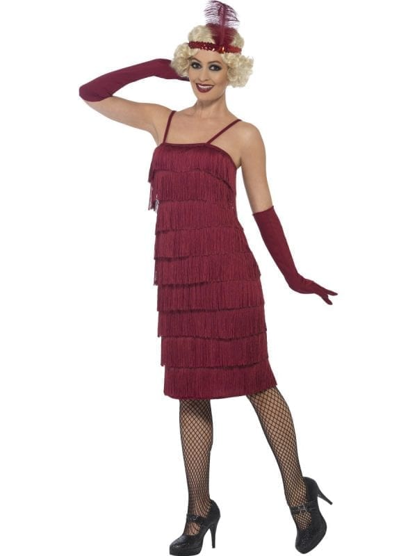 Burgundy Red Fringed Flapper Long Ladies Fancy Dress Costume