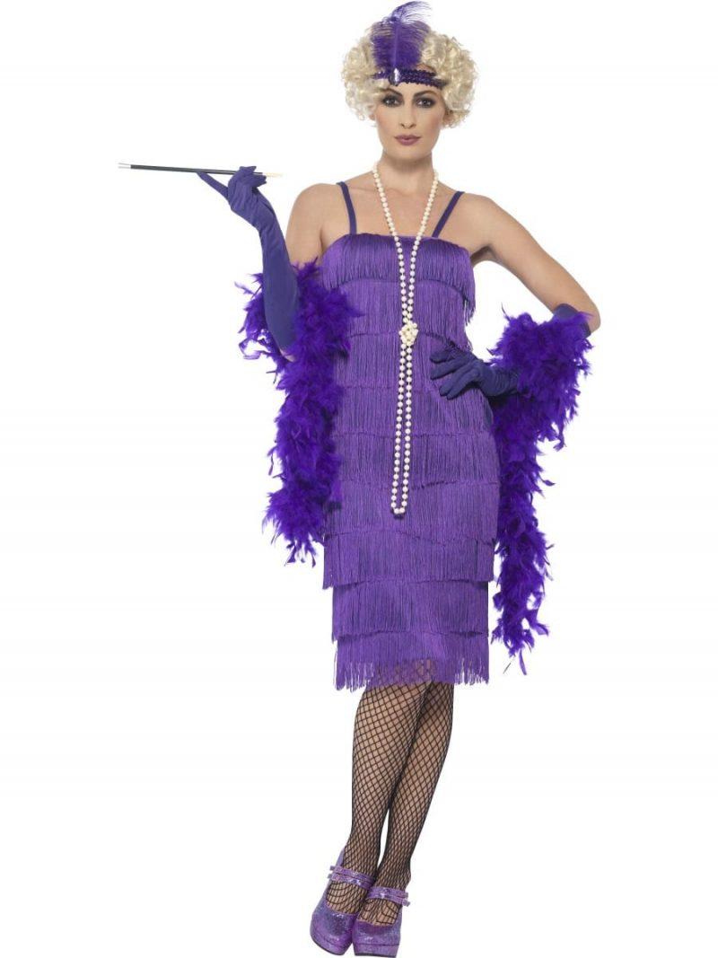 Purple Fringed Flapper Long Ladies Fancy Dress Costume