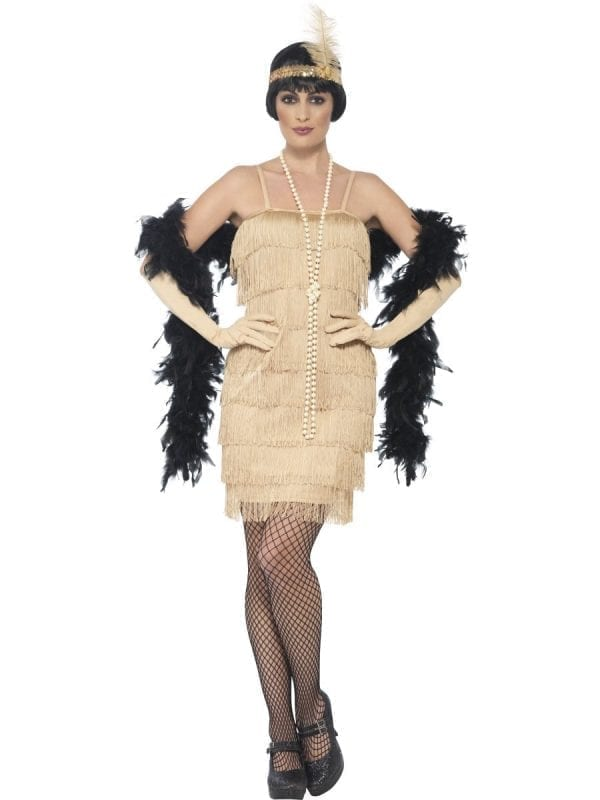 Gold Fringed Flapper Short Ladies Fancy Dress Costume