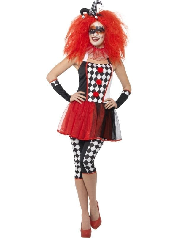 Twisted Harlequin Ladies Halloween Fancy Dress Costume