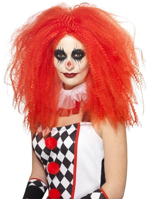 Clown Wig, Red, Crimped