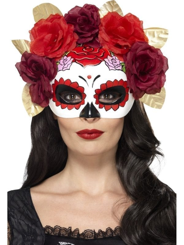 Day of the Dead Rose Eyemask Red