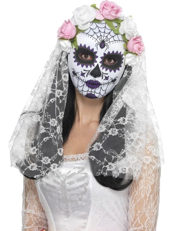 Day of the Dead Bride Mask White Full Faced