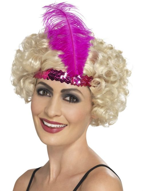 Sequinned Flapper Headband Pink with Feather