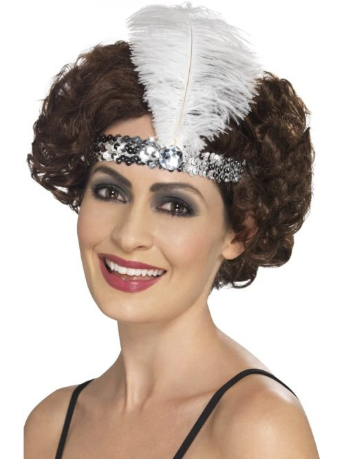 Sequinned Flapper Headband Silver with Feather