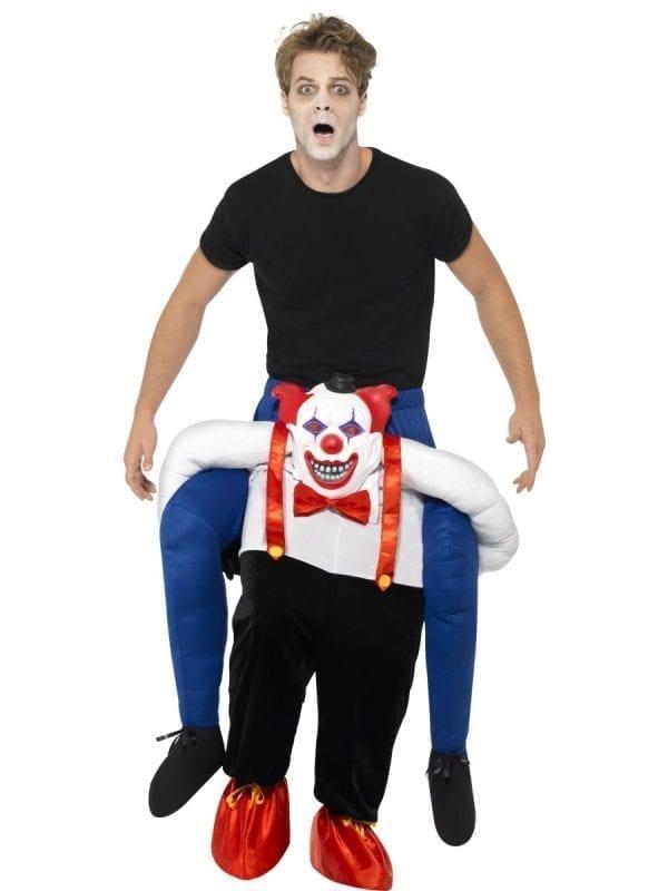 Sinister Clown Piggy Back Men's Halloween Fancy Dress Costume