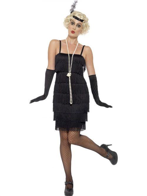 Black Short Fringed Flapper Costume
