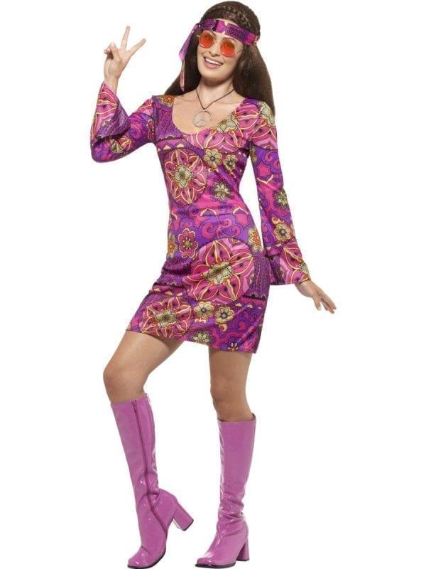 Woodstock Hippie Chick Ladies Fancy Dress Costume