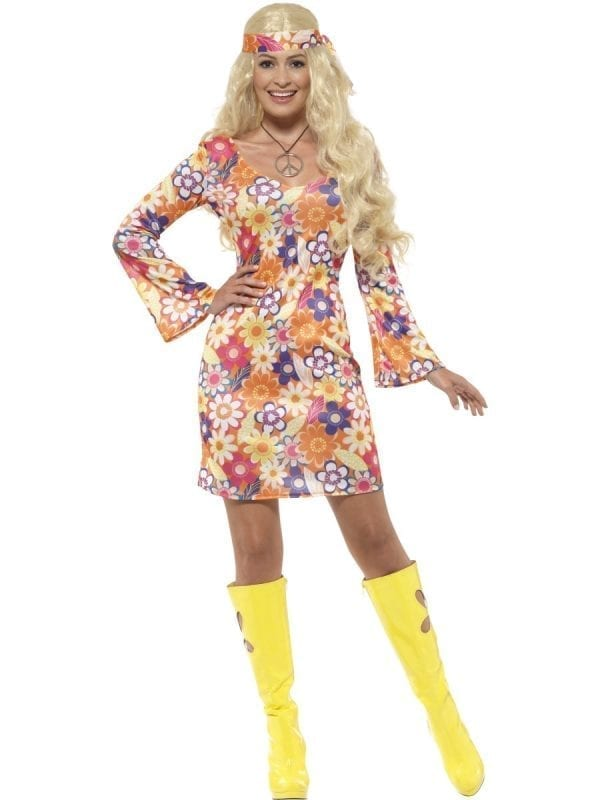 Flower Hippie Ladies Fancy Dress Costume