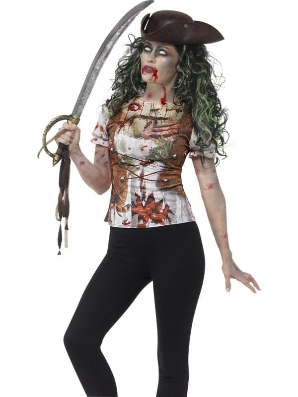 Zombie Pirate Wench T-Shirt Halloween Fancy Dress Costume