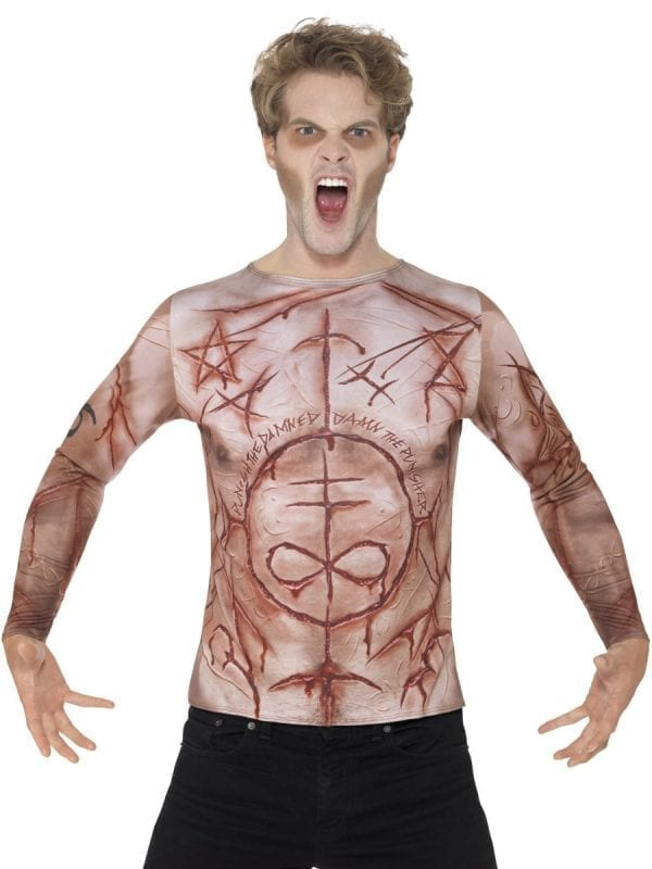 Mutilated Skin T-Shirt Man's Halloween Fancy Dress Costume
