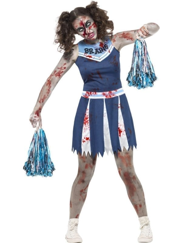 Zombie Cheerleader Young Adult Halloween Fancy Dress Costume