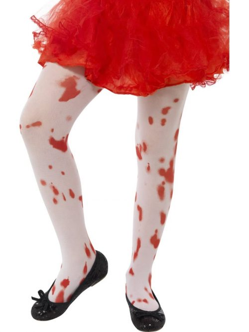 White Blood Stain Print Tights age 6-12 Years