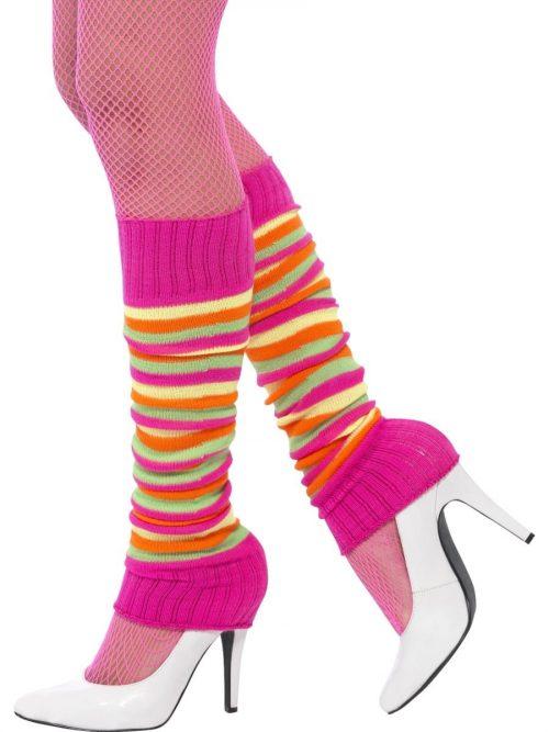Neon Rainbow Striped Legwarmers