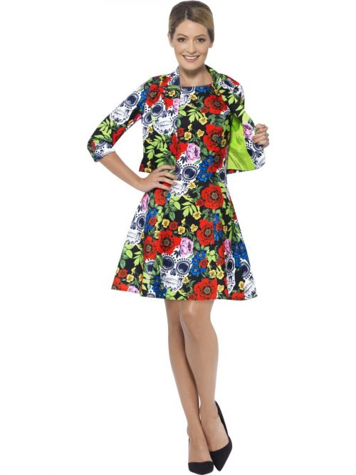 Day of the Dead Standout Suit Ladies Halloween Fancy Dress Costume