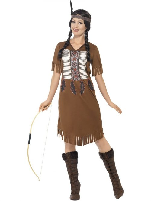 Native American Warrior Princess Ladies Fancy Dress Costume