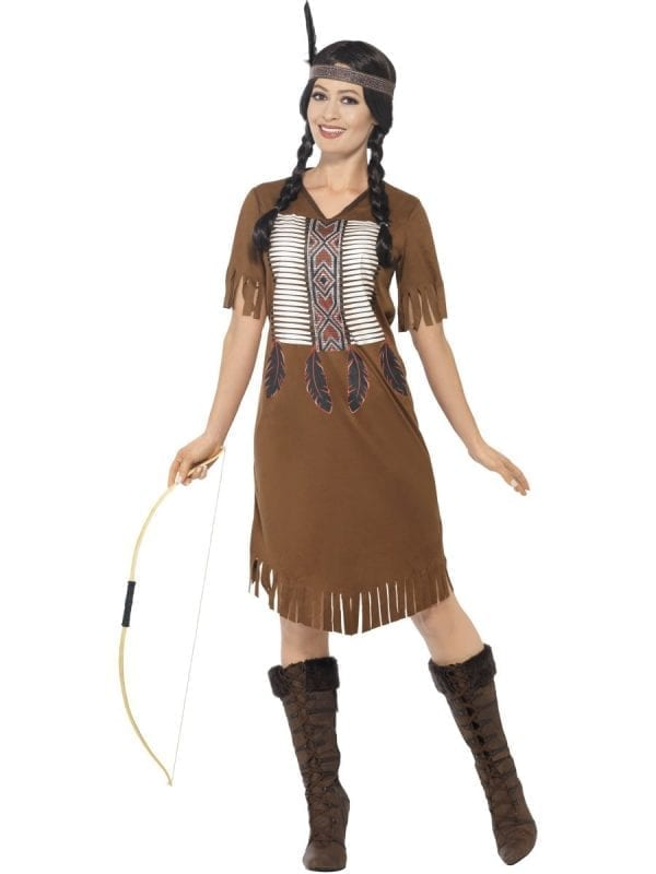 Native American Warrior Princess Ladies Fancy Dress Costume