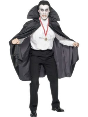 Black Fabric Cape with Stand Up Collar
