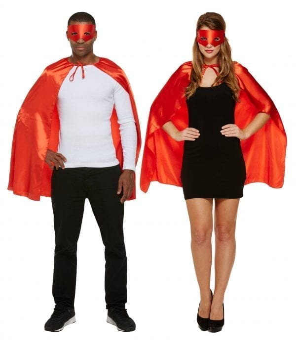 Red Superhero Unisex Cape Fancy Dress Costume