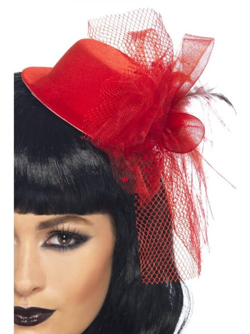 Red Fascinator Hat with Veil & Flower
