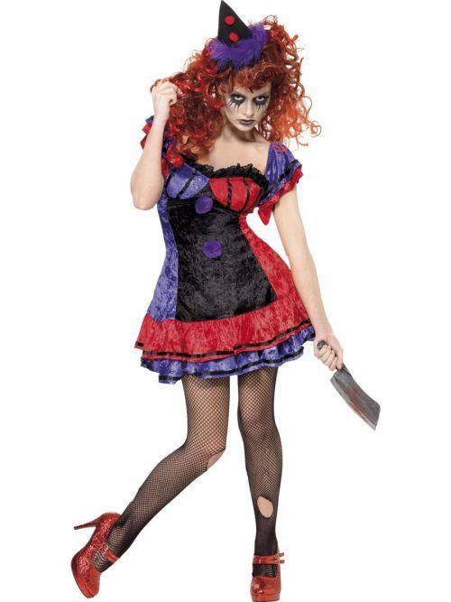 Cirque Sinister Bo Bo The Clown Ladies Halloween Fancy Dress Costume