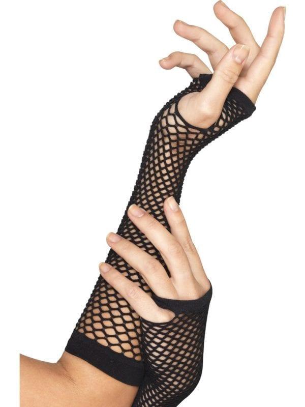 Black Long Fishnet Gloves