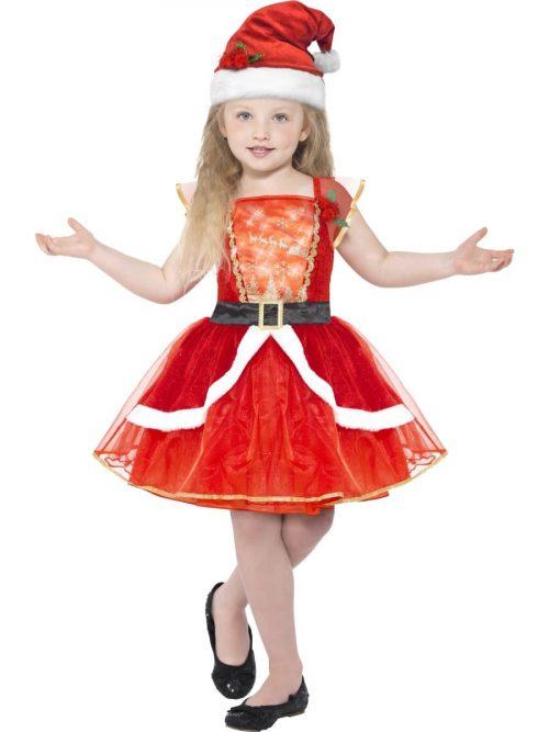 Miss Light Up Santa Children's Christmas Fancy Dress Costume