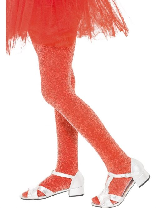 Red Sparkle Lurex Tights 6-12 Years