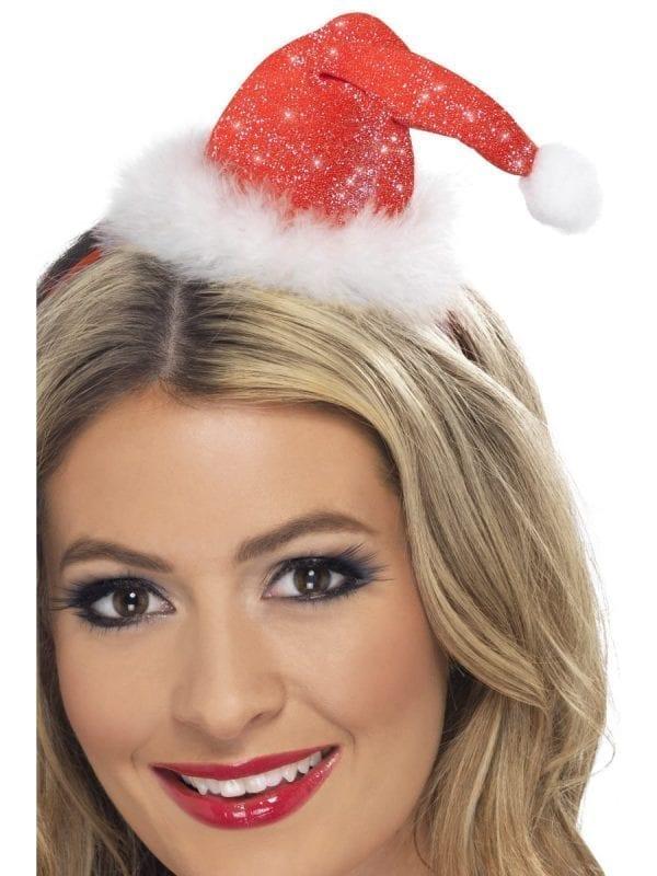 Mini Red Sparkle Santa Hat on Headband