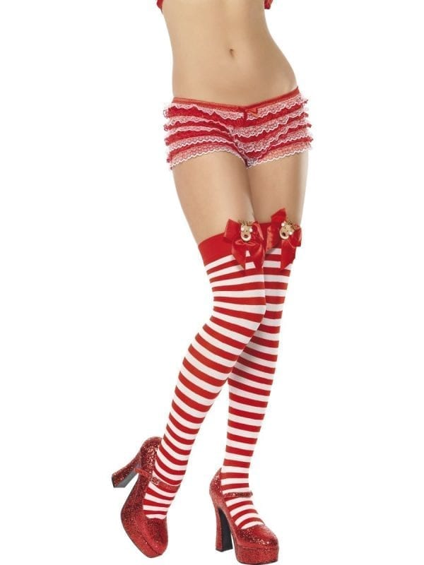 Red/White Thigh High Stockings with Bow & Reindeer Motif