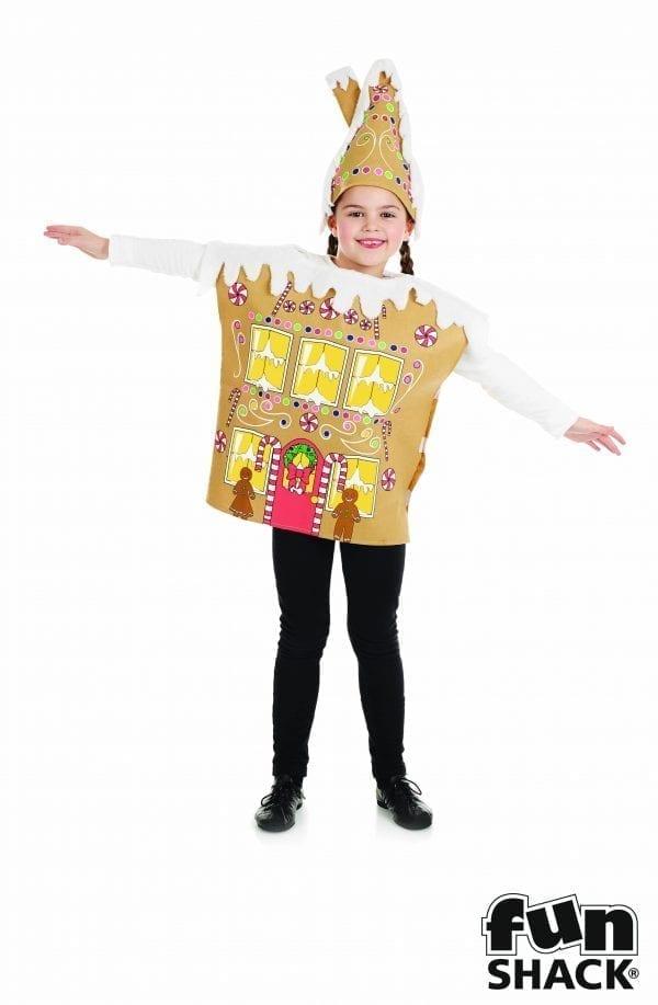 Gingerbread House Children's Christmas Fancy Dress Costume-0