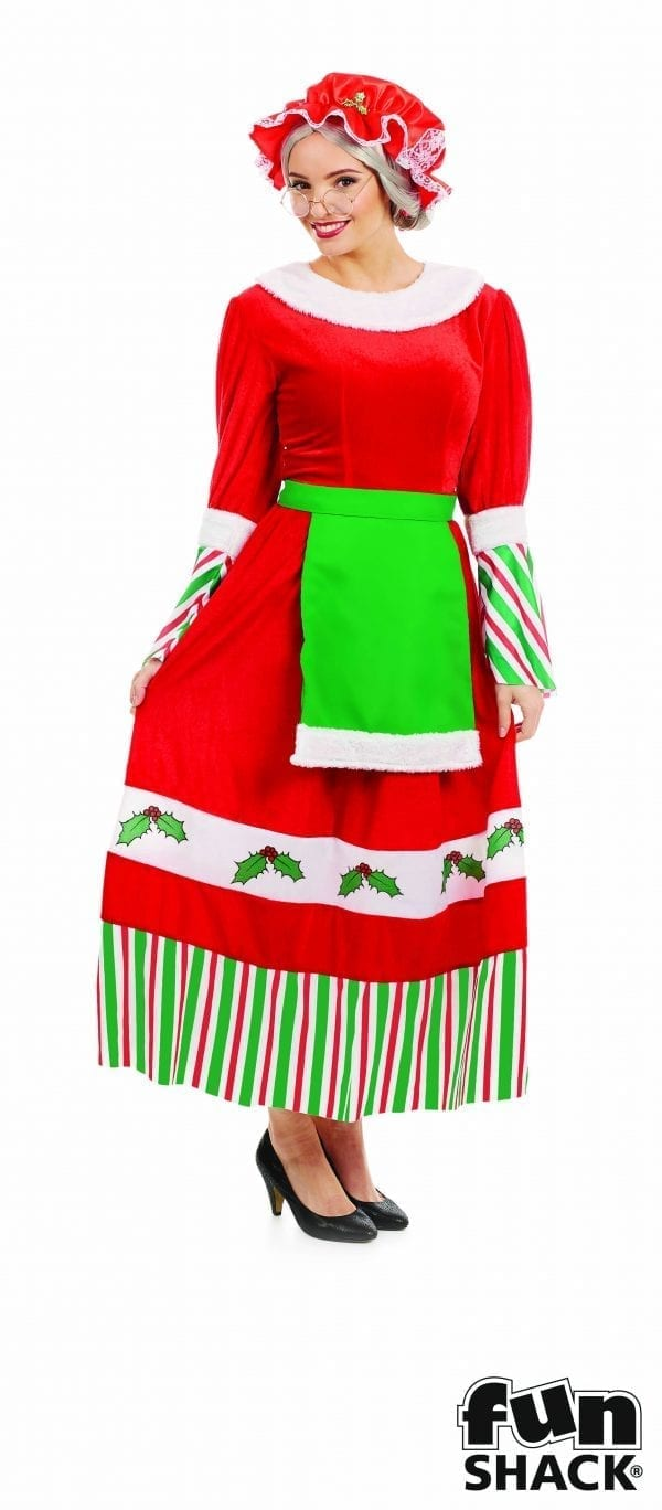 Traditional Mrs Claus Christmas Ladies Fancy Dress Costume-0