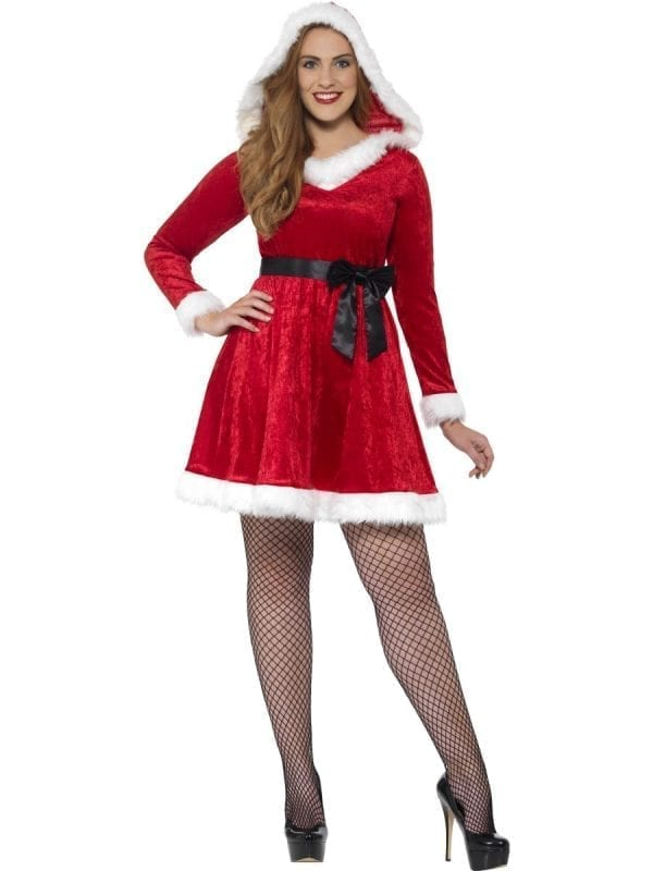 Curves Miss Santa Ladies Christmas Fancy Dress Costume