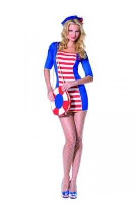 Fever Collection Nautical Sailor Ladies Fancy Dress Costume