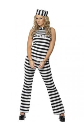 Convict Cutie Ladies Fancy Dress Costume