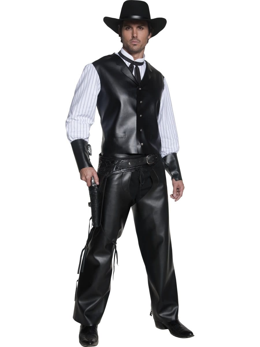 Authentic Western Gunslinger Mens Fancy Dress Costume