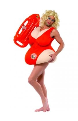 Baywatch Padded Swimsuit Mens Fancy Dress Costume