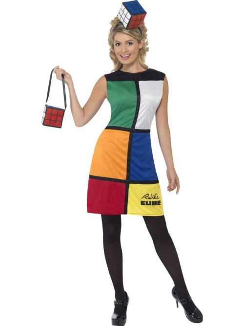 Rubik's Cube Dress Ladies Fancy Dress Costume
