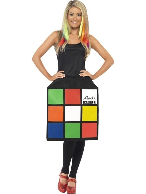 Rubik's 3D Cube Ladies Fancy Dress Costume