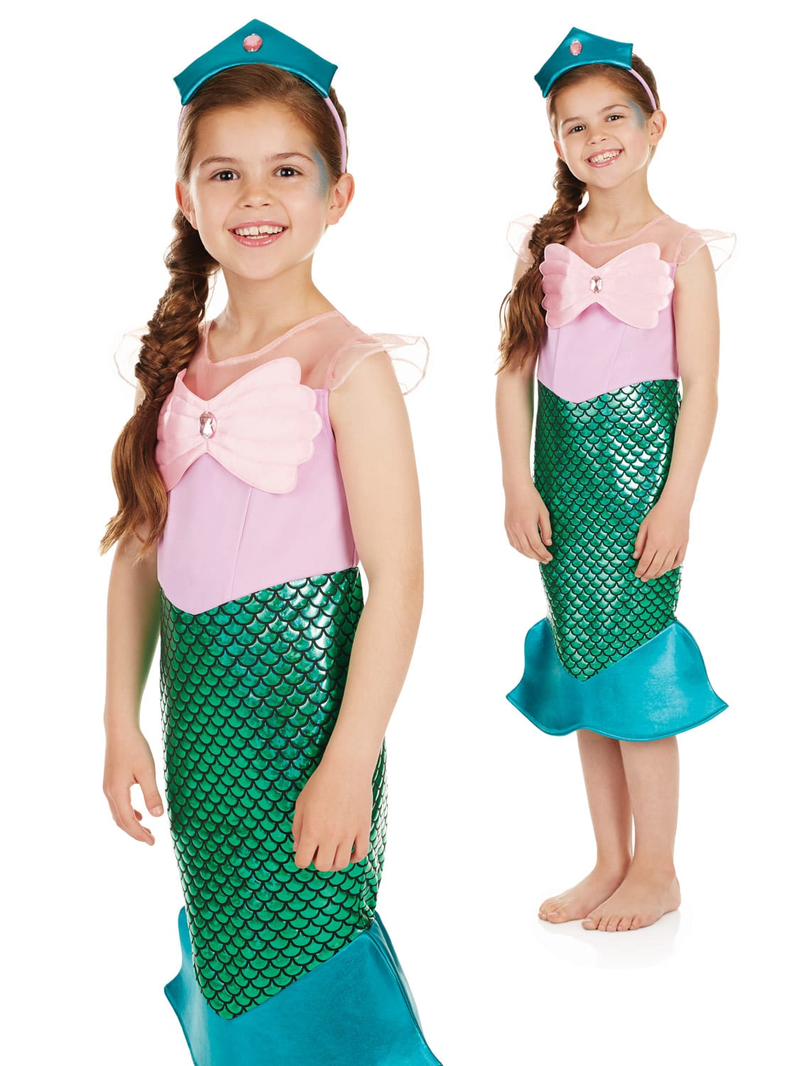 Mermaid (Pink/Green) Children's Fancy Dress Costume